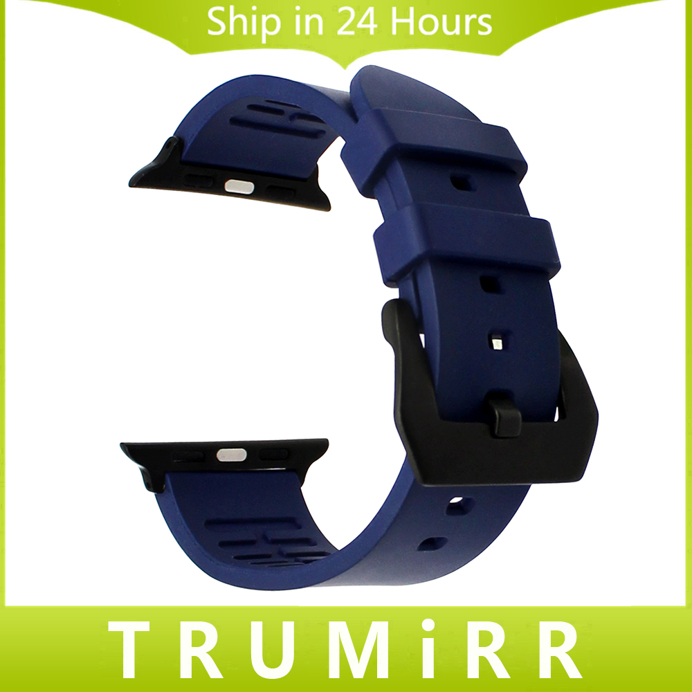 Fluororubber Rubber Watchband for iWatch Apple Watch 38mm 42mm Series 1 2 Wrist Band Sports Strap