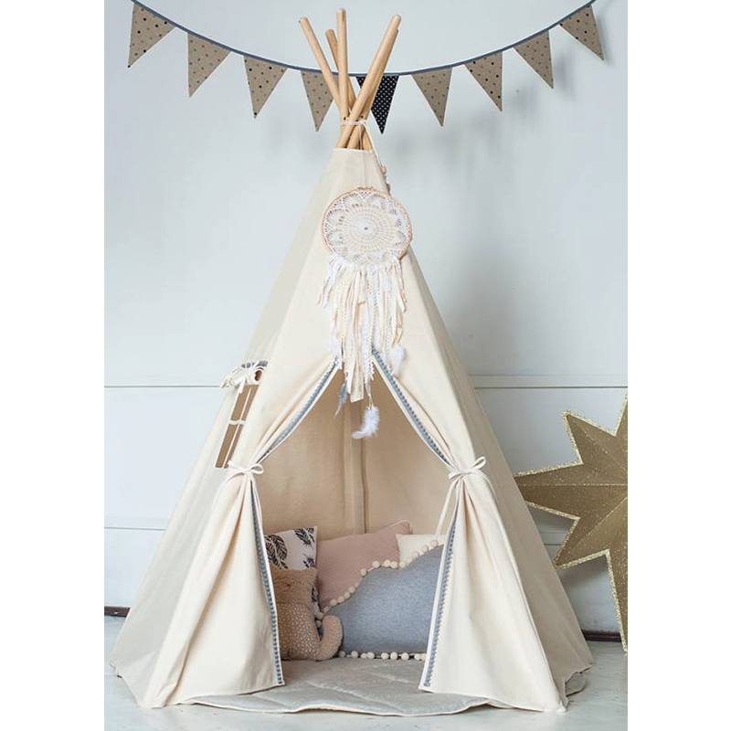 Large Unbleached Canvas Original Teepee Kids Teepee with Grey Pom Poms Indian Play Tent House Children