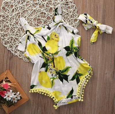 2PCS Baby Set Newborn Baby Girls Clothes Sleevless Yellow Lemon Bow Floral Romper Jumpsuit Bodysuit+Headband Clothes Outfits 3pcs set cute newborn baby girl clothes 2017 worth the wait baby bodysuit romper ruffles tutu skirted shorts headband outfits