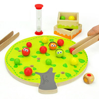 Kids Folder Beads Montessori Wooden Educational Toys For Children Fruit Tree Montessori Materials Clip Ball Toy Play Table Games