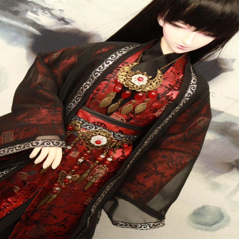 bjd suit bjd china ancient clothes - 1/4 1/3 bjd uncle accept custom european style black leather suit bjd uncle 1 3 sd ssdf doll clothes