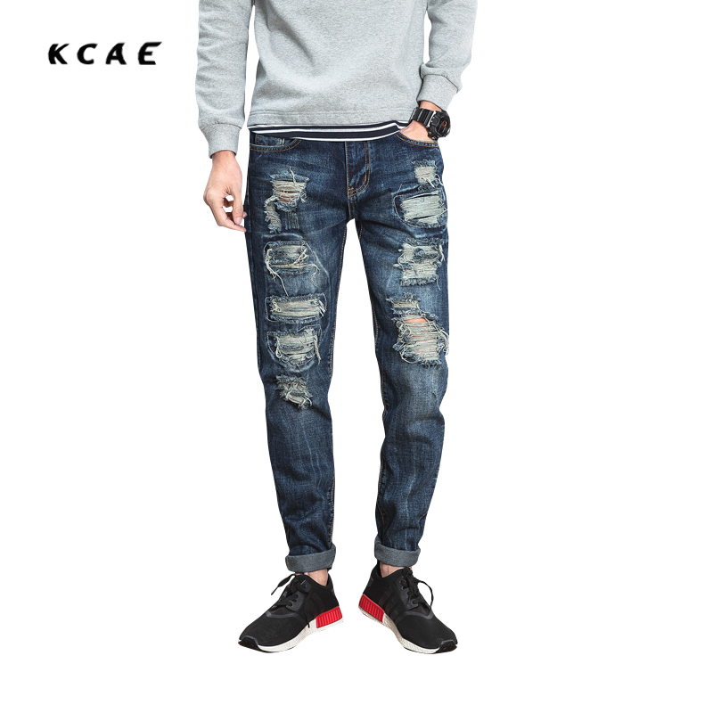 juan wei's store 2017 New Men's Fashion Blue Hole Ripped Jeans Casual Slim Fit Denim Beggar Pants Long Trousers Size 28-36
