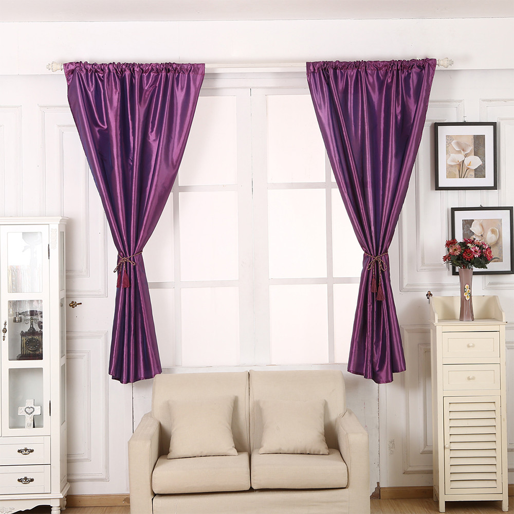 modern 1 pcs pure color silk door window curtain drape panel sheer scarf valances curtain drape