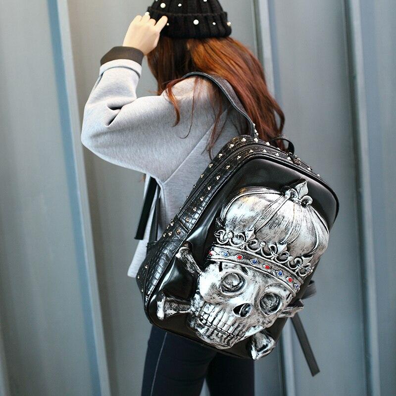 Femmes 3D tête de crâne Royal couronne sac à dos en cuir ordinateur portable école Rivet Double sac à bandoulière sculpture gaufrage voyage sac à dos - 2