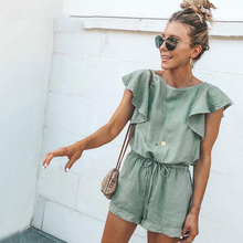 Casual Green Ruffle Lace Up Cotton Playsuit Summer Pockets Rompers Womens Jumpsuit