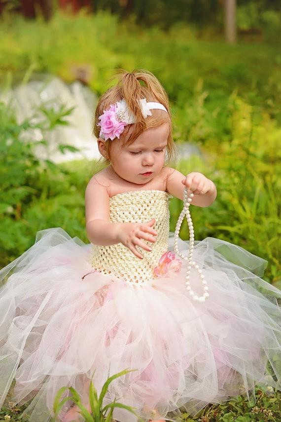 Ivory and Pink Flower Girl Wedding Tutu Dress4