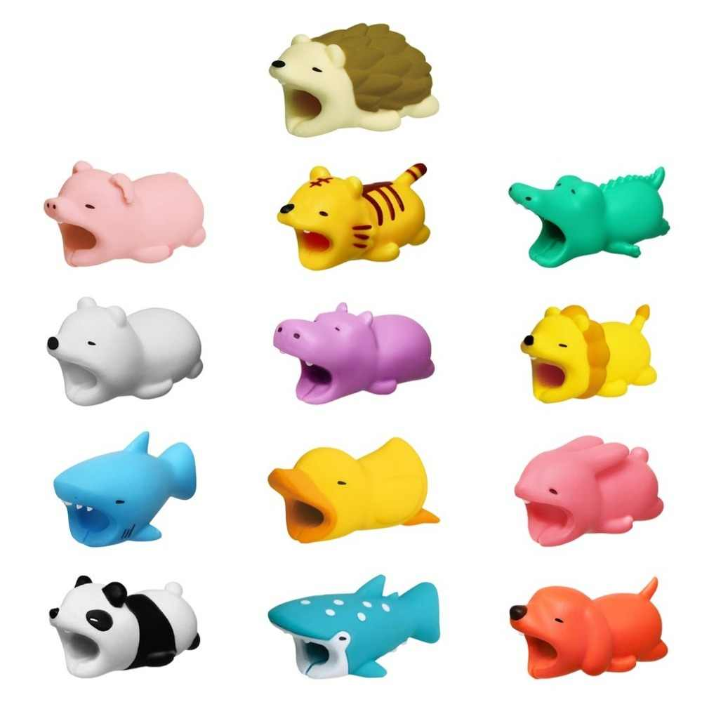 Animal bonito dos desenhos animados cabo organizador protetor para figura usb cabo de dados usb carregador cabo fones de ouvido cabo dobadoura