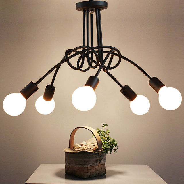 Moderne Deckenleuchten Wohnzimmer Schlafzimmer Esszimmer Lampe Nordic Einfache Stil Eisen Metall Spray Malerei Prozess Schwarz Weiss