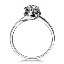 ZOCAI 0.30 Carat Certified  Real Diamond Engagement Women Ring 18K White Gold (Au750) W02893
