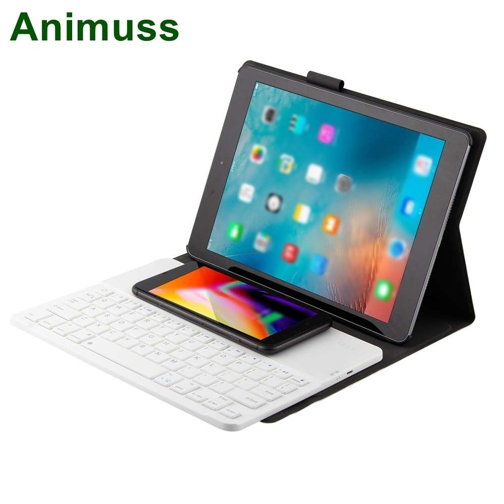 Animuss QI Cell Phone Wireless Charger Keyboard For IOS Android Windows Tablet