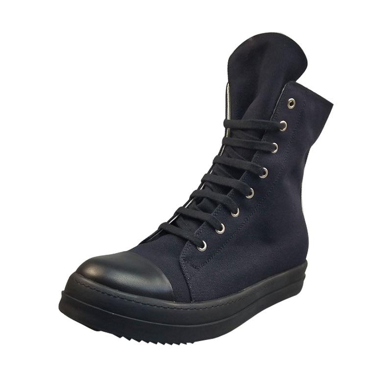 Повседневная мужская обувь из холстины; роскошные высокие кроссовки на шнуровке и молнии; Весенняя Мужская классическая черная Повседневная Брендовая обувь на плоской подошве