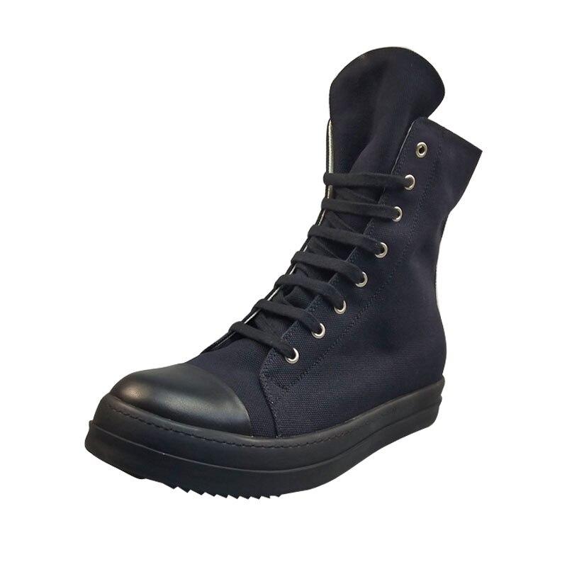 Hommes décontracté chaussures en toile haut de luxe formateurs à lacets Zip printemps mâle basique décontracté marque chaussures plates