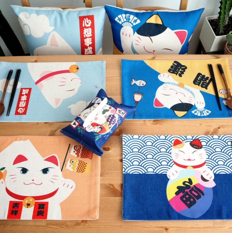 Chinese Lucky Cat Placemat Cotton Linen Art Table Insulation Pad Anti scalding Tableware Family Kitchen Supplies in Mats Pads from Home Garden