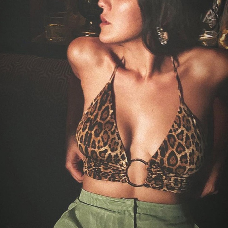 Sexy Women Halterneck Strapless Bra Leopard-Print Push-Up Camisole Metal Ring Backless Vest Adjusted-Straps Erotic Underwear