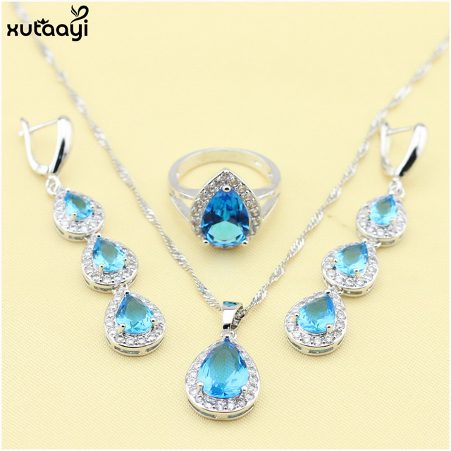XUTAAYI 925 Silver Drop Jewelry Sets For women Blue synthetic Topaz Fancy Wedding Necklace/Rings/Earrings Set