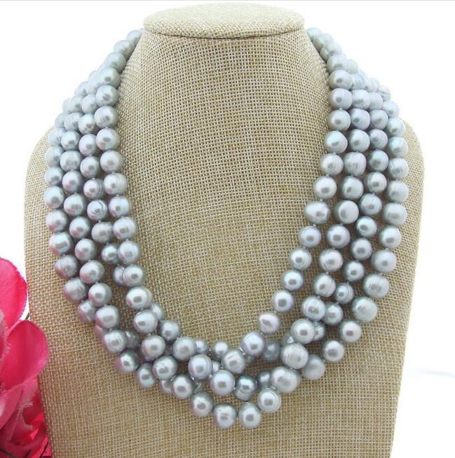 Beautiful 20 4 Row 10-11mm Grey Round Pearl Necklace Necklaces & Pendants