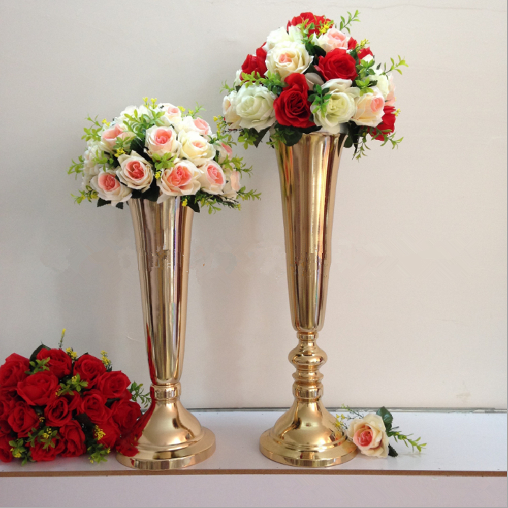 Wedding Flower Vases Wholesale: Silver/ Gold Plated Metal Table Vase Wedding Centerpiece
