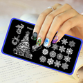 10Pcs/Lot Christmas Pattern Stainless Steel Nail Stamping Plates Konad Stamping Nail Art Manicure Template Nail Stamp Tools