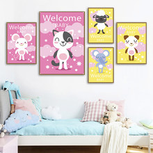 Welcome Baby Animals Canvas Posters and Prints Nursery Kids Room Painting Kawaii Elephant Cat Pictures For Toddler Decor