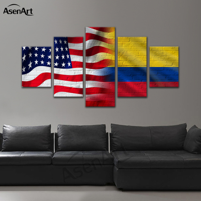 5 piece canvas prints united states of america flags combined israel
