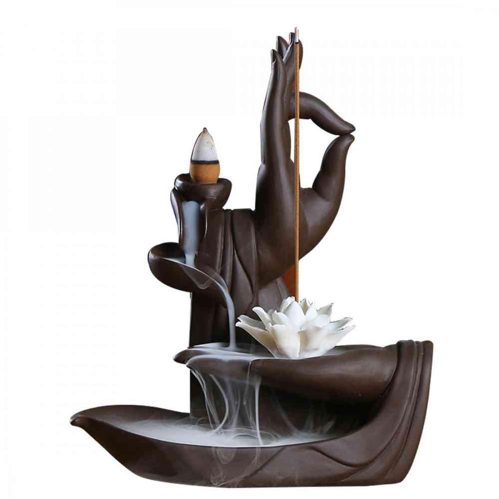 Backflow Incense Burner Lotus Stick Holder Ceramic Buddha Hand Smoke Waterfall Aromatherapy Censer Decorative