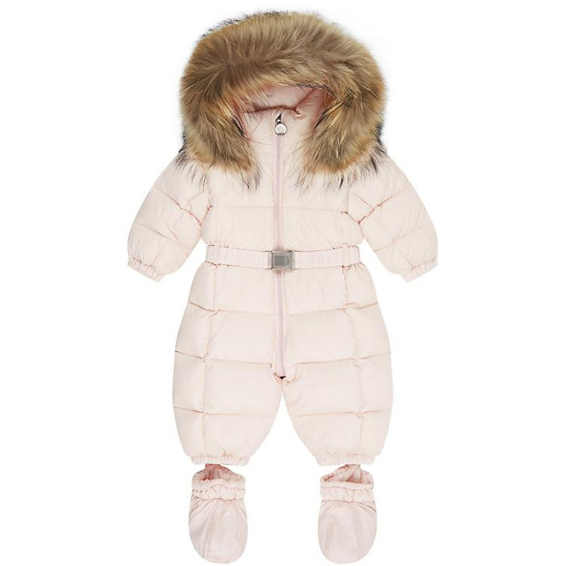 Winter baby snowsuit newborn warm duck down 100% Real Raccoon fur hooded jumpsuit infant baby girls boys Bodysuits