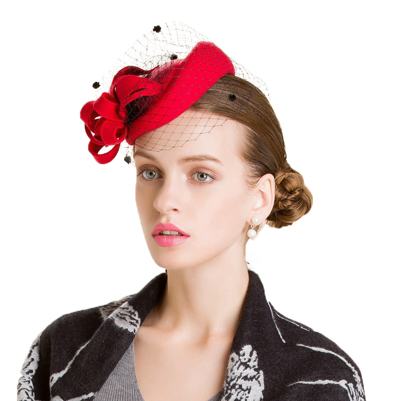904416da6 FS Female Winter Hats For Women Elegant Red Black Wool Felt Pillbox Hat  Vintage Fascinator Flower Ladies Church ...