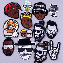 Pulaqi Hip hop Boy Patch DIY Embroidery Iron On Patches For Clothing Hippie Negro Clothes 3D Badges Applique Stripe F