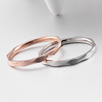 Small Ring for Women and Men Silver/Rose Gold Color Stainless Steel Wedding Ring 2mm Width Exquisite Ring 1