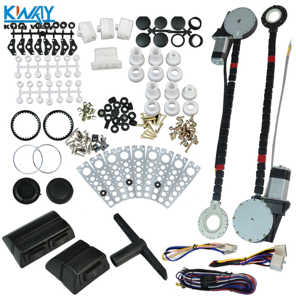 Power Window Kit Universal 12V Car Electric Power Window Regulator Roll Up Conversion Kit W//2 Switches for 2 Door Car Truck Van SUV