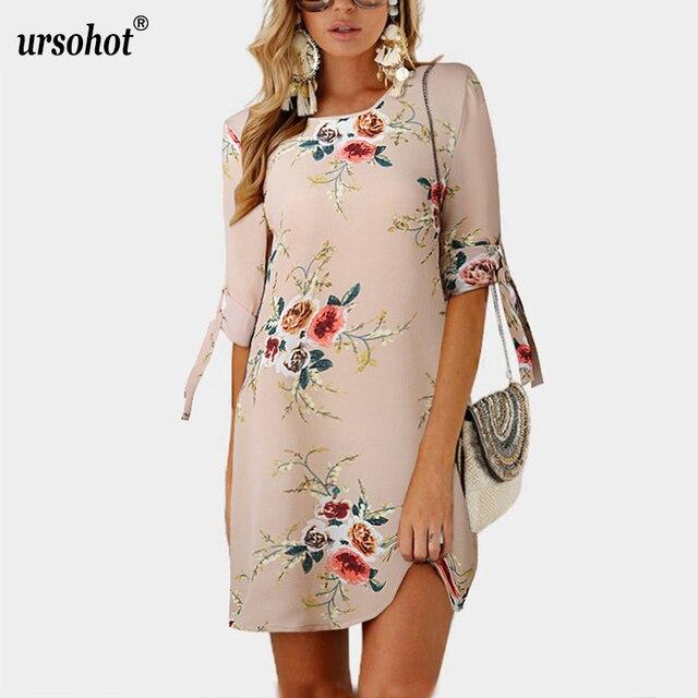 Ursohot женские платья больших размеров 5XL три четверти лук рукав цветочный принт летний халат 2018 повседневный Стиль Сарафан Vestidos