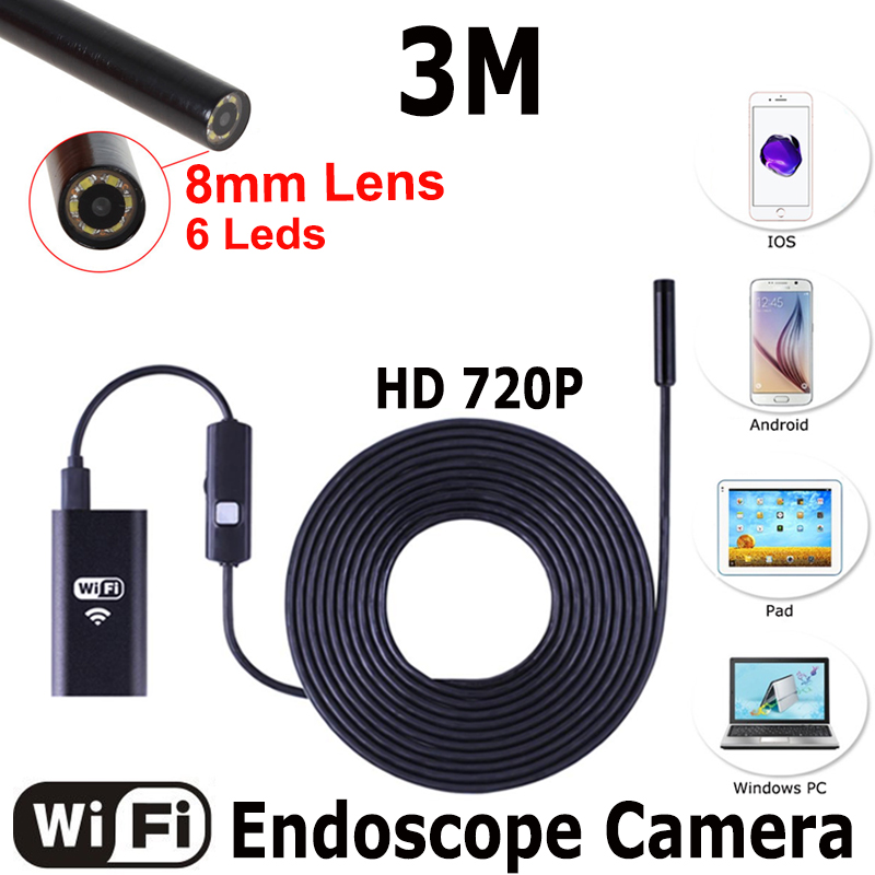 HD720P 8mm Lens WIFI Endoscope Camera 3M Snake Iphone Android Borescope IOS Tablet Wireless Pipe Borescope Camera 2017 new 8led 7m hard flexible snake usb wifi android ios iphone endoscope camera iphone borecope pipe inspection hd720p camera