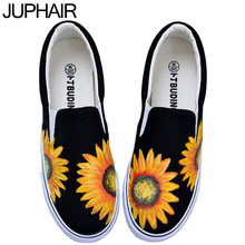 JUP Men Mans Girls Cartoon Graffiti  Despicable Me Minion Totoro Panda Hand-painted Canvas Shoes Female Casual Fashion Footwear