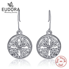 EUDORA 100% Real Pure 925 Sterling Silver Celtics Knot Round Earring Stud Unique Women Fine Jewelry Gift CYE12