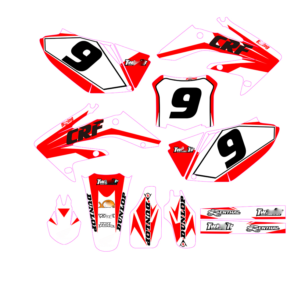 Motorcycle Motocross For Honda CRF250R CRF 250 R 2008-2009 Customizable Number Sticker Personality Decal Graphic BackgroundMotorcycle Motocross For Honda CRF250R CRF 250 R 2008-2009 Customizable Number Sticker Personality Decal Graphic Background