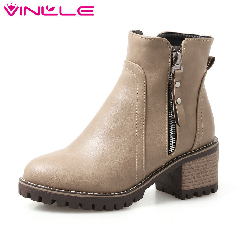 VINLLE 2018 Women Boots Elegant Ankle Boots Square Med Heel Round Toe  Rivet Zipper Ladies Motorcycle Shoes Size 34-43 vinlle 2017 women pumps college style square med heel vintage slip on pu leather shoes casual round toe girl shoes size 34 40