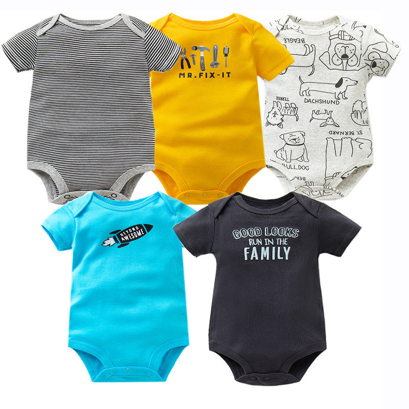 5PCS/Lot Baby Bodysuit O-neck Short Sleeve Cotton Baby Clothing High Quality Baby Jumpsuit Infant Newborn Bebe Boy Girl Clothes