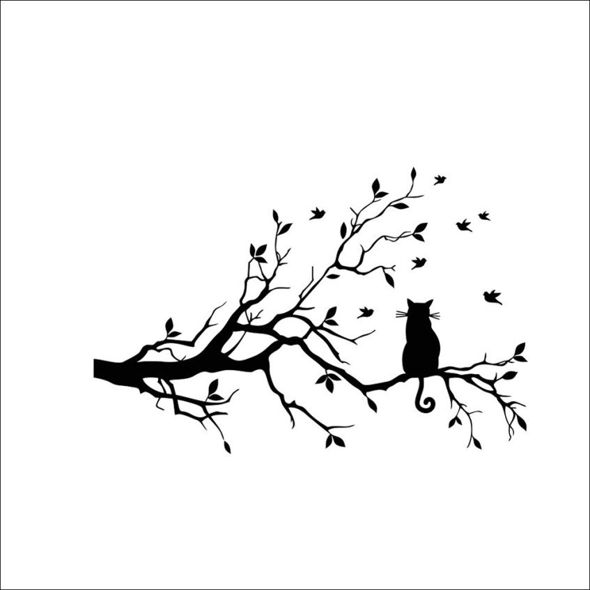 1 set Wall Sticker Cat On Long Tree Branch  Animals Cats Art Decal Kids Room Decor Glass Window Door Free Shipping Jan 12