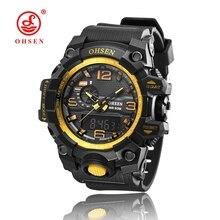 2016 OHSEN NEW Mens Sport Montres Relogio Masculino 2016 Chaude Hommes Silicone Sport Montre Reloj S Antichoc Montre-Bracelet Électronique