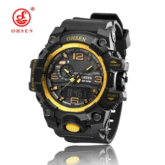 2017 OHSEN NEW Mens Sports Watches Relogio Masculino 2017 Hot Men Silicone Sport Watch Reloj S Shockproof Electronic Wristwatch