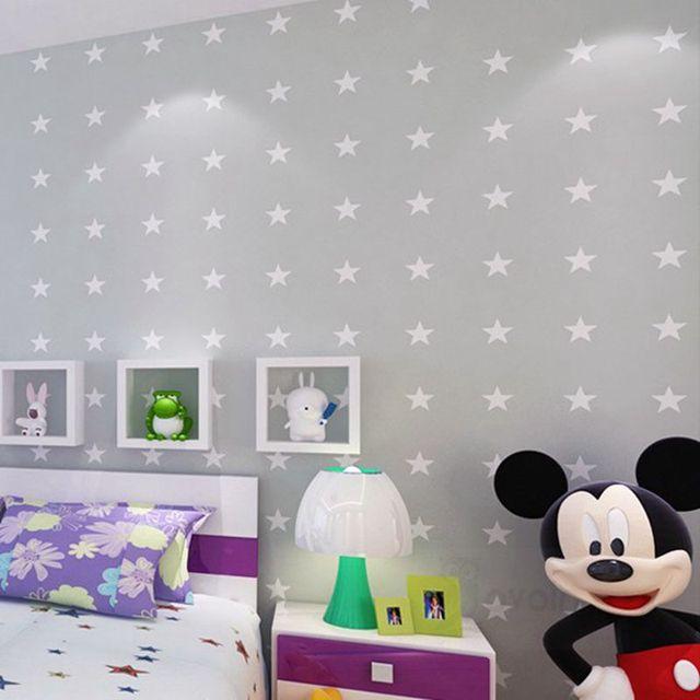 Stars Light Grey Wallpaper Kids Room Wall Paper Boys Bedroom Modern Design Non Woven Children S