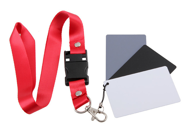 Camera Accessory 3in1 Pocket-Size Digital White Black Grey Balance Cards 18% Gray Card with Neck Strap for Digital Photography