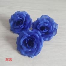 10 см синий цветок голова искусственные шелковые розы цветок для свадьбы День рождения украшения DIY корсаж цветок гирлянда