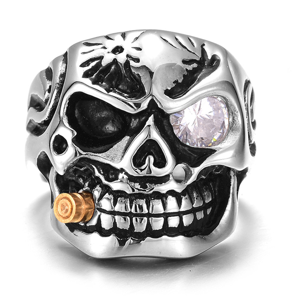 Qevila New Fashion Punk Domineering Smokes Skull Head Finger Ring For Men Knuckle Gothic Jewelry Silver Color Biker Rings Male (1)