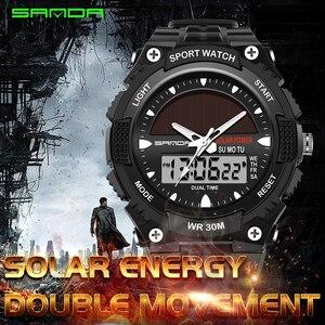 Zegarki męskie wodoodporne Solar Power sport Casual Watch męskie zegarki na rękę podwójny czas cyfrowy kwarcowy zegar LED mężczyźni relogios