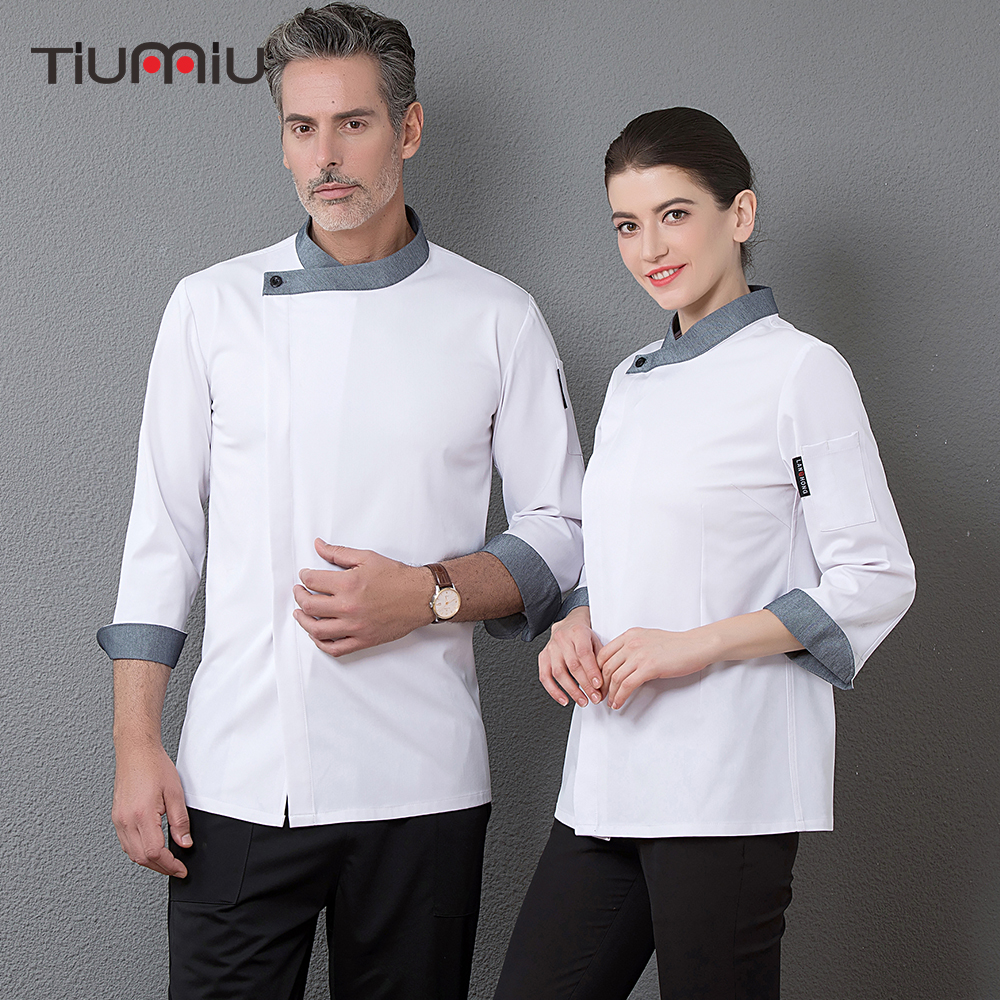 Profession Chef Jacket Waiter Long Sleeve Uniform Workwear Clothing Baker Barber Kitchen Master Cook Overalls High Quality