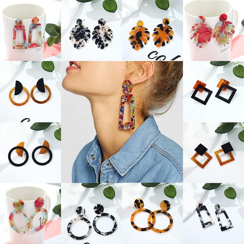 Korea Design Acrylic Fiber Transparent Earrings Pendant Geometric Women Retro Fashion Leopard Jewelry