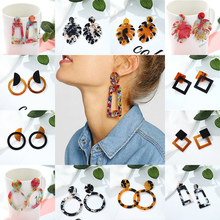 Korea Design Acrylic Fiber Transparent Earrings Pendant Geometric Women Retro Fashion Leopard Jewelry