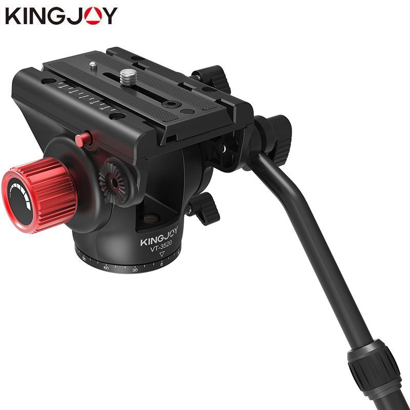 KINGJOY Official VT 3520 Tripod Head Hydraulic Fluid Panoramic Video Head For Tripod monopod Camera Holder Stand Mobile SLR DSLR|Tripod Heads| |  - title=