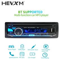 HEVXM Colorful Light 1 Din Car MP3 Player Radio 12V BT Stereo Audio In-dash Single  Aux Input 7003